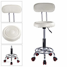 White Spa Salon Stool Gas Lift Backrest Barber Beauty Massage Hairdressing Chair