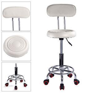 White Spa Salon Stool Gas Lift Backrest Barber Beauty Massage Hairdressing Chair