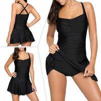 US Women Two Piece Swimsuit Swimwear Swimdress Beachwear Push Up Padded Backless