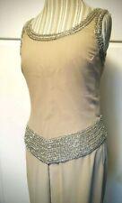 J Kara Beige Nude Silver Beaded Formal Party Chiffon Dress Pant Suit Womens Sz 8