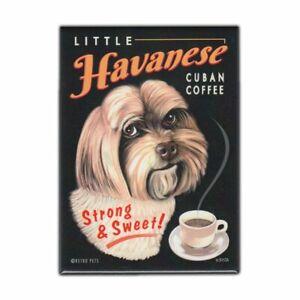 "Retro Pets Magnet, Little Havanese Cuban Coffee, Advertising Art, 2.5"" x 3.5"""