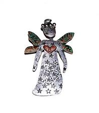 BROOCH/PIN/PENDANT Handmade Recycled Metals Copper Patina STAMPED ANGEL