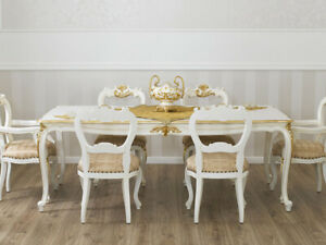 Dining table Merton Decape Baroque style rectangular ivory and gold leaf cm 185