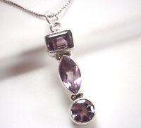 Faceted Amethyst Marquise 3-Gem 925 Sterling Silver Pendant