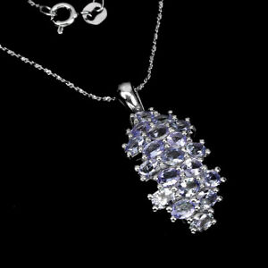 Unheated Oval Tanzanite 4x3mm White Gold Plate 925 Sterling Silver Necklace 18