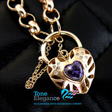 18k yellow gold GF belcher chain heart padlock bolt ring solid bracelet bangle