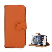 Apple iPhone 5 5S Handy Tasche Wallet Case Echt Leder Schutz Hülle Etui Orange
