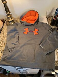 UNDER ARMOUR HOODIE PULLOVER UNISEX SIZE YOUTH LG GREY NEON ORANGE NEW NO TAGS
