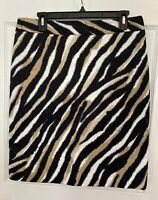 Talbots Womens Petite Skirt Size 12 White Black Tan Animal Print Design Lined