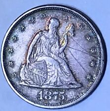 1875 Liberty Seated twenty cent piece 20c Low Mintage Obv Graffiti