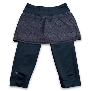 Athleta Women 2 in 1 Skirt Capri Leggings Zip Pocket Black Batik Yoga Crop Sz XS