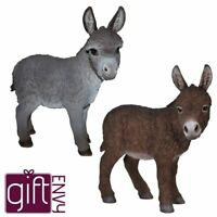 Donkey Standing Lifelike Garden Ornament Indoor Outdoor Real Life Farm 2 Colours