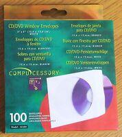 NEW COMPUCESSORY CD/DVD Window Envelopes 100/Box - White 26500