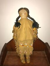 "Cloth Indian Woman Doll 13"" leather hand beaded dress"