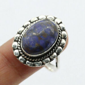 Blue Turquoise 925 Silver Plated Handmade Gemstone Ring US Size 7.5 Ethnic Gift