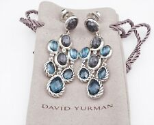 David Yurman Sterling Silver Blue Ultramarine Topaz Chandelier Earrings ES1852