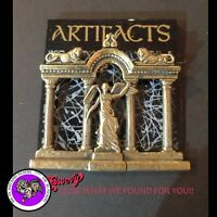 """JJ"" Roccoco Jewelry Bronze Pewter 'Roman Temple Angel Lions' Pin Brooch"