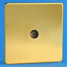 Varilight 1 Gang Co-axial TV Socket Screwless Brushed Brass XDB8S