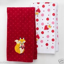 "2 Pc Set Happy Valentine's Day Holiday Kitchen Towel Fox say's ""Be Mine"" NWT"