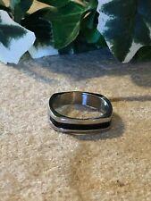 Ring Size 12 Very Nice! Mens Stainless Steel Black Enamel