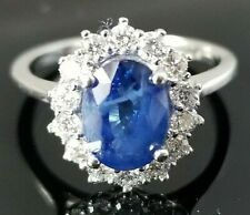 1.90TCW Stunning Blue Sapphire VS Diamond halo 14k white gold ring
