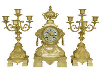 GARNITURE. Kaminuhr Empire clock bronze horloge antique cartel pendule