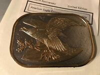 """Vintage American Eagle silver and gold 3.5"""" X 2.5"""" belt buckle"""