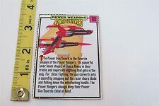 MIGHTY MORPHIN POWER RANGERS CUT OUT SPEC CARD - POWER GUN / SWORD -