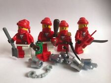 Lego PIRATES - 4 red PIRATE minifigures + silver - ONLY LEGO PARTS weapon