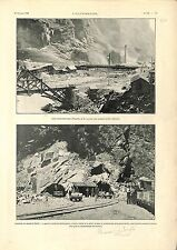 Percement Tunnel du Simplon Alpes Installations Iselle Côté Italie GRAVURE 1901