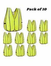 New High Visibility Safety Vest With Silver Stripe Ansi Universal Size 10 Pack