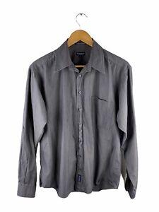 Gant Madison Melange Button Up Shirt Men Size L Grey Long Sleeve Pocket Slim Fit
