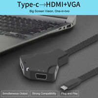 USB-C Type C To 4K HD TV HDMI + VGA 3.5mm Jack Audio AV Adapter for Macbook PC