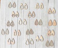 36 Unfinished Wood Drop Hook Dangle Earring Earrings Jewelry Blanks Cutout Craft