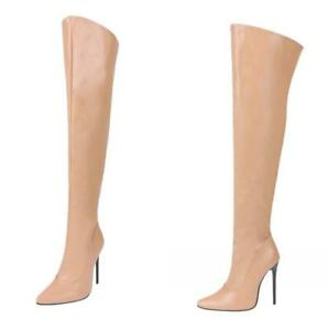 Womens Pointed Toe Stiletto Heels Over Knee High Boots Sexy Nightclub Shoes Size