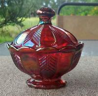 Gorgeous Imperial Glass IRIDESCENT RED ''PRETTY'' COVERED DISH embossed logo