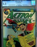 Action Comics 57 CGC 6.5 Lois Lane Prankster Cover Superman 1943 OW/W pages!!