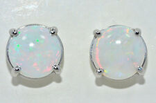 Natural Opal 6mm Round Stud Earrings .925 Sterling Silver