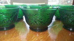 Emerald Green Sandwich glass dessert cups berry bowls Tiara glass 6 7 oz euc