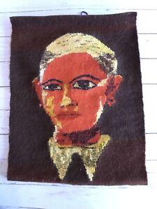 VTG HANDWOVEN Portrait TAPESTRY WALL ART TEXTILE FOLK ART MCM