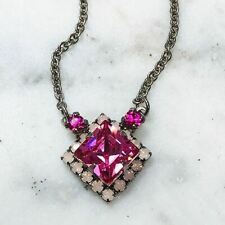 Sorrelli Pink Square Crystal Pendant Necklace