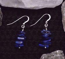 Lapis Lazuli Gemstone Chip Beaded Dangle Earrings with Sterling Silver    (J#20)