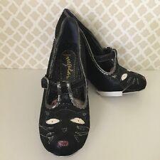 Irregular Choice Black Cat T-Strap Cross Your Path Wedge Mary Jane Women's 7 38
