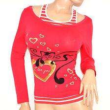 MAGLIETTA ROSSO CORALLO donna maglia sottogiacca manica lunga t-shirt cotone F50