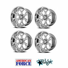 (4) 20x9 American Force Polished SS8 Shield Wheels For Chevy GMC Ford Dodge