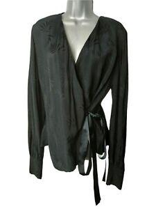 OLIVER BONAS Shirt Blouse Size 16 Black Palm Jacquard Wrap Top