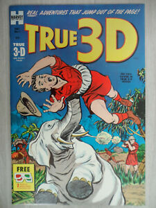 TRUE 3-D #1 Golden Age Comic: HARVEY FILE COPY with Glasses unused. NM- 1953