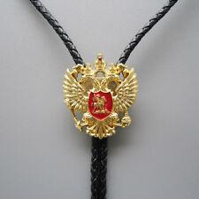 Original Antique Gold Russian Double Headed Empire Eagle Rhinestone Bolo Tie