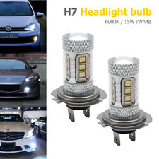 2x H7 499 15 SMD 2835 15W LED Headlight Bulbs White High Beam Fog DRL 6000k