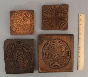4 RARE Antique 18thC Folk Art Carved Wood Cookie Molds  NO RESERVE